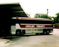 Trailways bus at the station